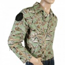 RMC JEANS Leaf Pattern Green Zip Front Regular Fit Cotton Biker Jacket