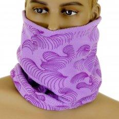 Light Purple Fleece Neck Warmer Snood Scarf with Dark Purple Tsunami Wave Embroidery