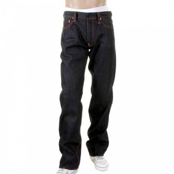 RMC JEANS Mens 100% Cotton Vintage Cut Dark Indigo Raw Denim Jeans