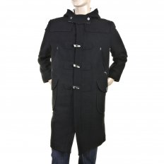 Mens 100% Wool Regular Fit Fisherman Duffle Coat in Black