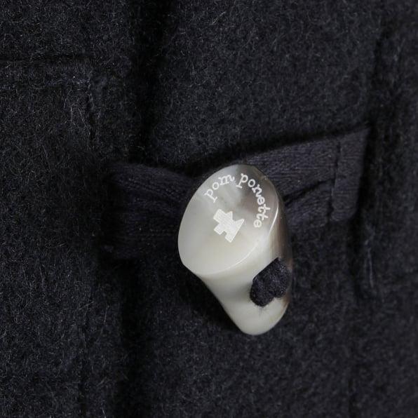RMC JEANS Mens 100% Wool Regular Fit Fisherman Duffle Coat in Black