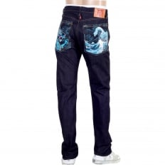 Mens 1011 Model Dark Blue RQP14121 Slim Fit Raw Selvedge Denim Jeans with Dragon and Tsunami Wave Embroidery