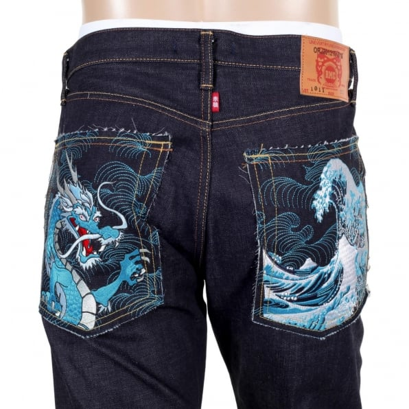 RMC JEANS Mens 1011 Model Dark Blue RQP14121 Slim Fit Raw Selvedge Denim Jeans with Dragon and Tsunami Wave Embroidery