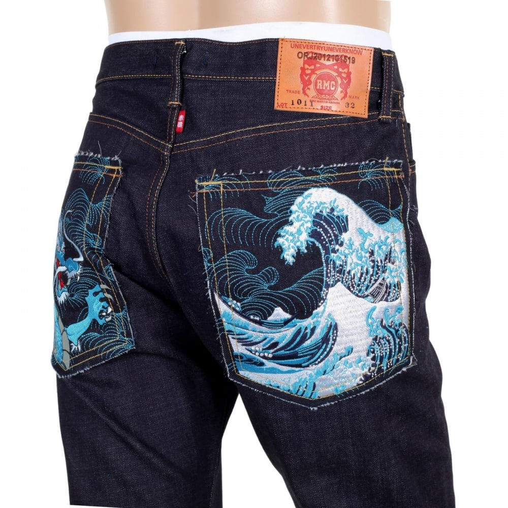 Dragon And Tsunami Wave Embroidered Jeans By Red Monkey
