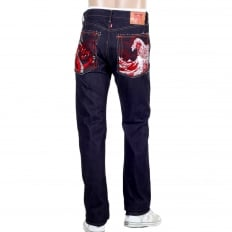 Mens 1011 Slimmer Model RQP14121 Japanese Selvedge Denim Jeans with Red Dragon and Tsunami Wave Embroidery