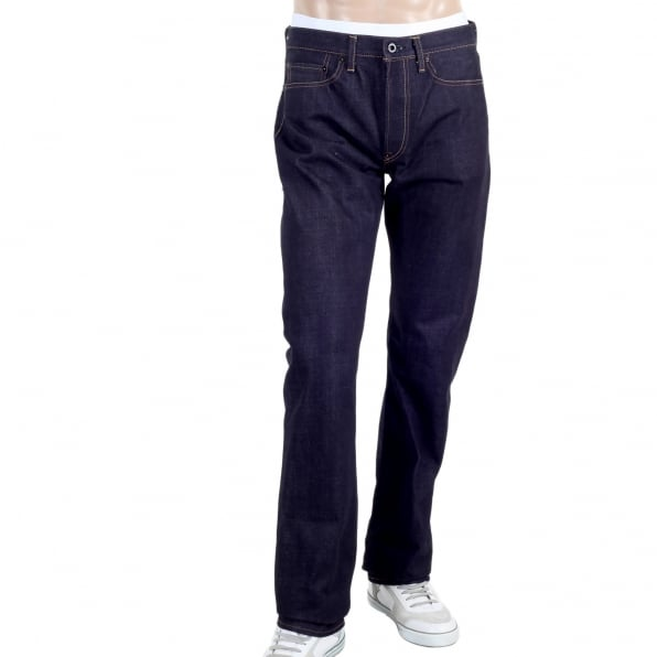 RMC JEANS Mens 1011 Slimmer Model RQP14121 Japanese Selvedge Denim Jeans with Red Dragon and Tsunami Wave Embroidery