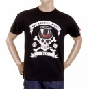 RMC JEANS Mens Black Crew Neck Regular Fit Short Sleeve T-shirt with Smoking Skull