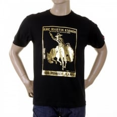 Mens Black Crew Neck Short Sleeve Regular Fit T-Shirt with Gold Foil Cowboy Rodeo Print