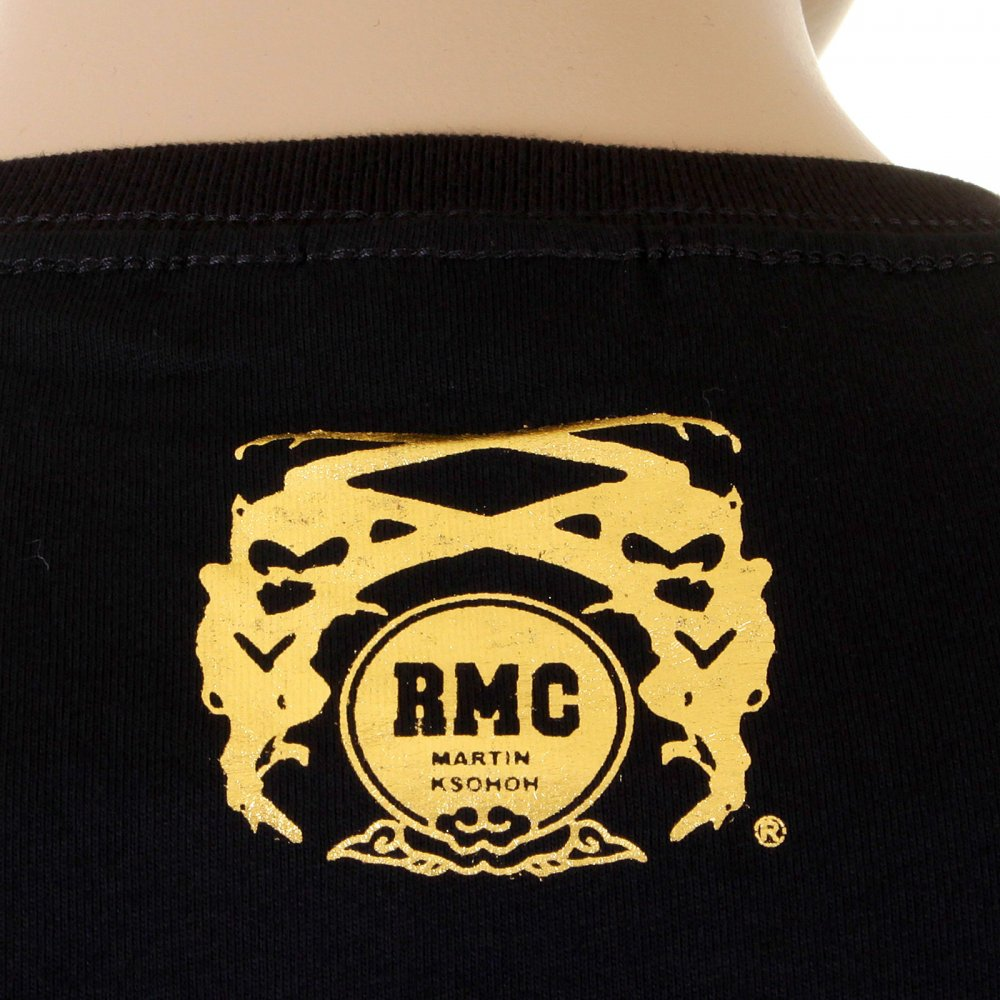 Black t shirt gold print -  Rmc Jeans Mens Black Crew Neck Short Sleeve Regular Fit T Shirt With Gold Foil