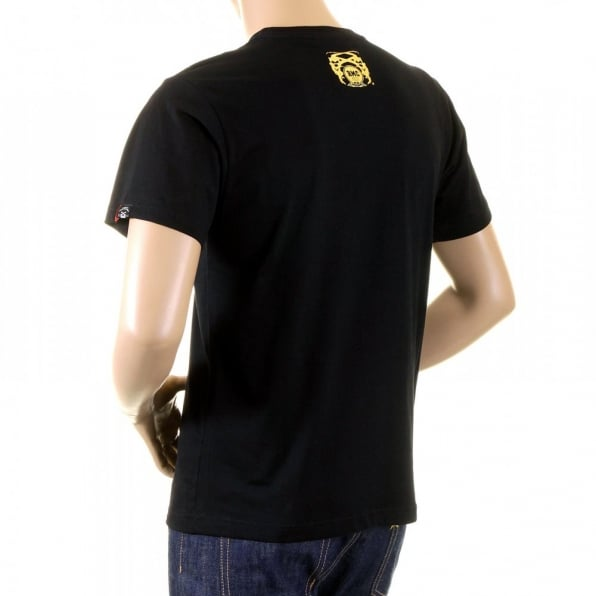 RMC JEANS Mens Black Crew Neck Short Sleeve Regular Fit T-Shirt with Gold Foil Cowboy Rodeo Print