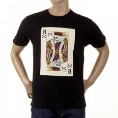 Mens Black Crew Neck Short Sleeve Regular Fit T-shirt with Poker Playing Card Print