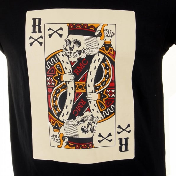 RMC JEANS Mens Black Crew Neck Short Sleeve Regular Fit T-shirt with Poker Playing Card Print