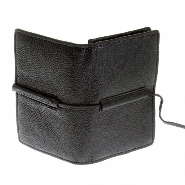 RMC JEANS Mens Black Grain Leather Card Holder Wallet