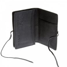 Mens Black Grain Leather Card Holder Wallet