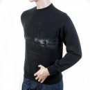 RMC JEANS Mens Black Large Fitting Crew Neck Sweatshirt