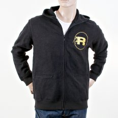 Mens Black Large Fitting Zipped Front Hoody