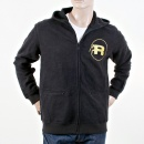 RMC JEANS Mens Black Large Fitting Zipped Front Hoody
