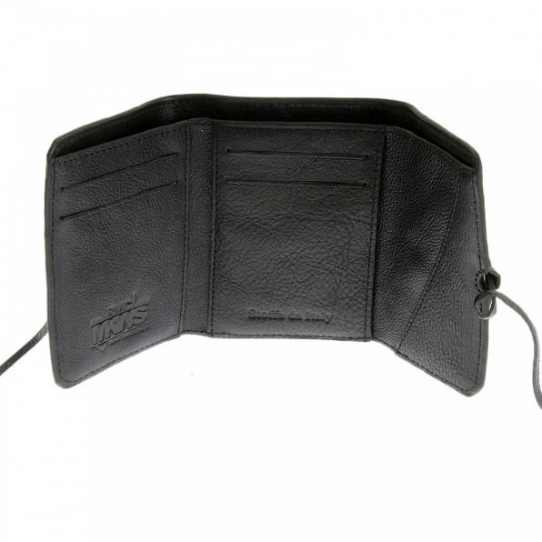RMC JEANS Mens Black Leather 3 Fold Credit Card Mini Wallet