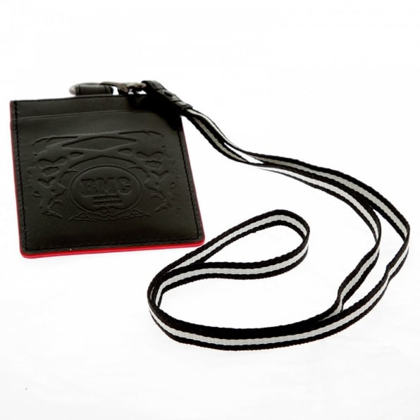 RMC JEANS Mens Black Leather Card Holder with Red Leather Trim