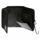 RMC JEANS Mens Black Leather/Horse Hair 3 Fold Credit Card & Coin Pouch Portrait Wallet