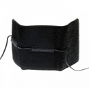 RMC JEANS Mens Black Leather/Horse Hair 3 Fold Credit Card Mini Wallet