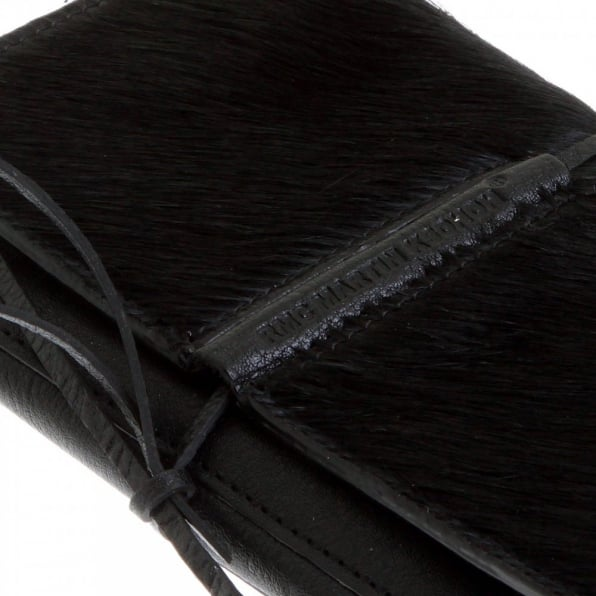 RMC JEANS Mens Black Leather/Horse Hair 3 Fold Credit Card Wallet