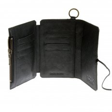 Mens Black Leather/Horse Hair 3 Fold Credit Card Wallet