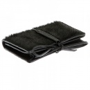 RMC JEANS Mens Black Leather/Horse Hair Card Holder with Shoe Lace Tie Closure