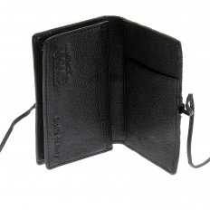 Mens Black Leather/Horse Hair Card Holder with Shoe Lace Tie Closure