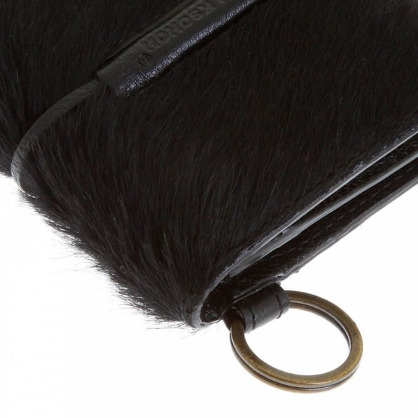 RMC JEANS Mens Black Leather/Horse Hair Pouch with Shoe Lace Tie Closure