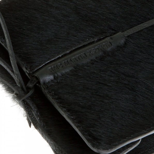 RMC JEANS Mens Black Leather/Horse Hair Wallet with Shoe Lace Tie Closure