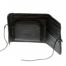 Mens Black Leather/Horse Hair Wallet with Shoe Lace Tie Closure