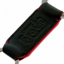 RMC JEANS Mens Black Leather Key Holder with Red Leather Trim