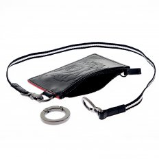 Mens Black Leather Pouch with Red Leather Trim