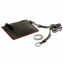 RMC JEANS Mens Black Leather Pouch with Red Leather Trim