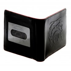 Mens Black Leather Wallet with Red Leather Trim