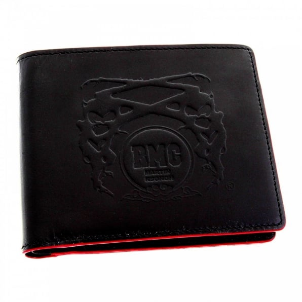 RMC JEANS Mens Black Leather Wallet with Red Leather Trim