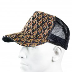 Mens black mesh with rainbow embroidered cap