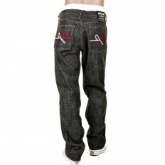 Mens Black Selvedge Raw Denim Jeans with Super Exclusive Design