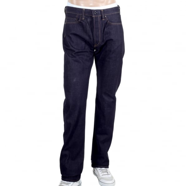 RMC JEANS Mens Blue and White Sengoku Painted and Embroidered 1011 Model RQP14123 Selvedge Denim Jeans Cut in Slim Fit