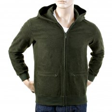 Mens Bottle Green Wool Mix Regular Fit Zipped Front Hoody Jacket