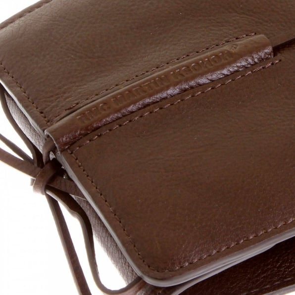 RMC JEANS Mens Brown Grain Leather Wallet with Shoe Lace