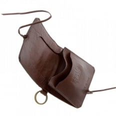 Mens Brown Grain Leather Wallet with Shoe Lace Tie Closure