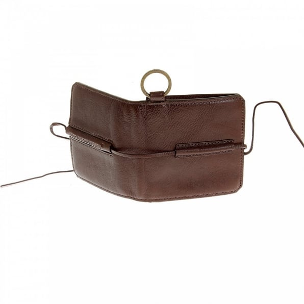 RMC JEANS Mens Brown Grain Leather Wallet with Shoe Lace Tie Closure