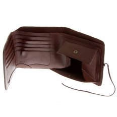Mens Brown Leather 3 Fold Credit Card & Coin Pouch Landscape Wallet
