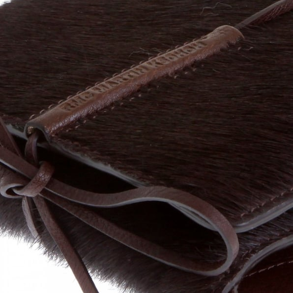 RMC JEANS Mens Brown Leather/Horse Hair 3 Fold Credit Card & Coin Pouch Landscape Wallet