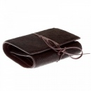 RMC JEANS Mens Brown Leather/Horse Hair 3 Fold Credit Card & Coin Pouch Portrait Wallet