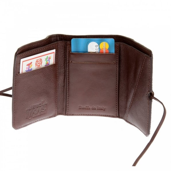RMC JEANS Mens Brown Leather/Horse Hair 3 Fold Credit Card Mini Wallet