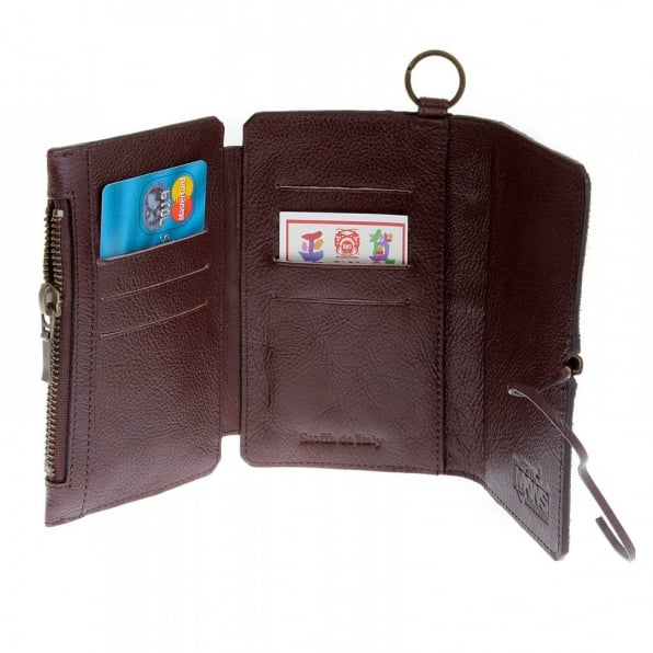 RMC JEANS Mens Brown Leather/Horse Hair 3 Fold Credit Card Wallet