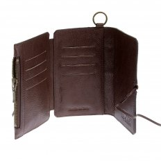 Mens Brown Leather/Horse Hair 3 Fold Credit Card Wallet